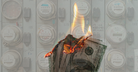 This is a picture of an electric meter with burning money that symbolizes a Texas electric bill lawyer.
